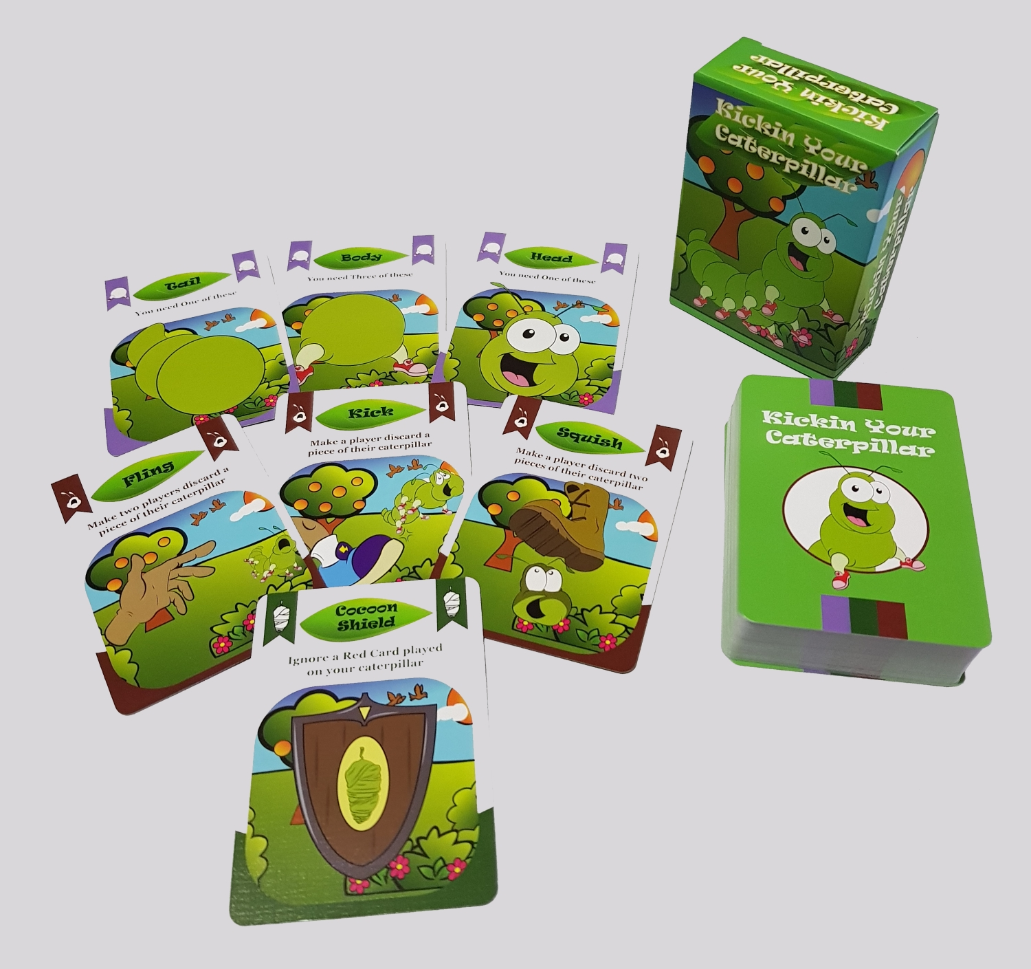 Cards in Kickin Your Caterpillar card game.